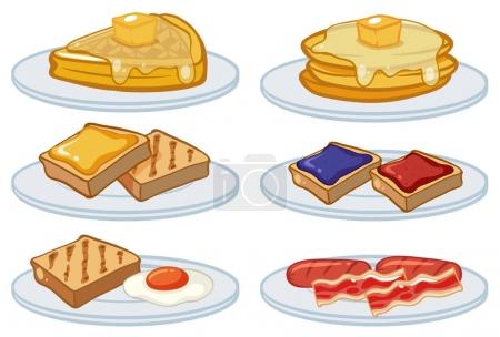 Breakfast menu on the plates