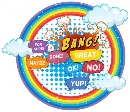 Expression words on round rainbow