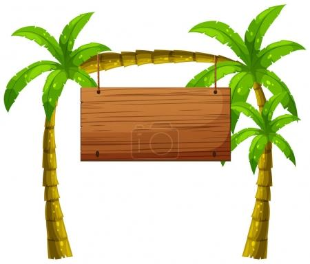 Wooden sign on coconut trees