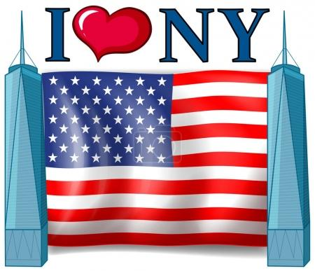 I love New York sign with American flag
