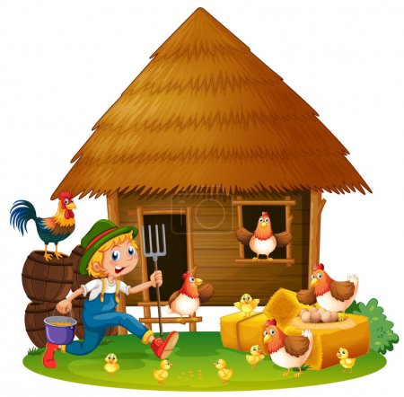 Chickens and farmer at home