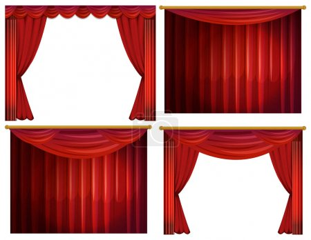 Four designs of red curtains
