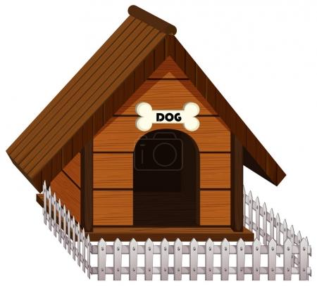 Doghouse with white fence