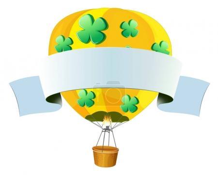 Banner design with hotair balloon flying