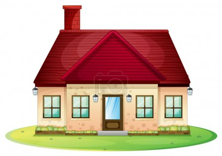 Single house with red chimney on roof