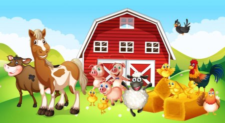 Illustration for Farm animals living on the farm illustration - Royalty Free Image