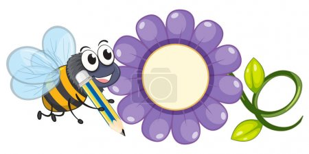 Bee and purple flower