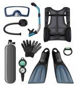 Different diving equipments in black color illustration