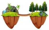 Wooden bridge conects two islands illustration