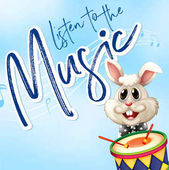 Bunny playing drum with music notes in background