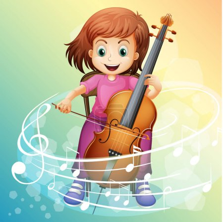 Illustration for Girl playing cello on the chair illustration - Royalty Free Image