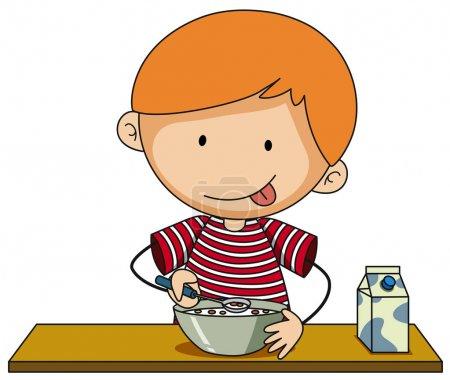 Illustration pour Petit garçon ayant des céréales avec illustration de lait - image libre de droit