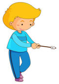 Boy with marshmallow on stick