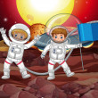 Постер, плакат: Two astronauts on strange planet