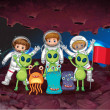 Постер, плакат: Astronauts and aliens on the same planet