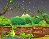 """Постер, картина, фотообои """"Два крокодилов в дождь"""""""