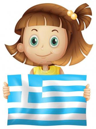 Illustration pour Fille mignonne tenant drapeau de la Grèce illustration - image libre de droit