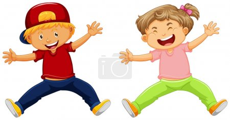 Illustration pour Joyeux garçon et fille saut illustration - image libre de droit