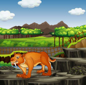 Scene with sabertooth in the zoo