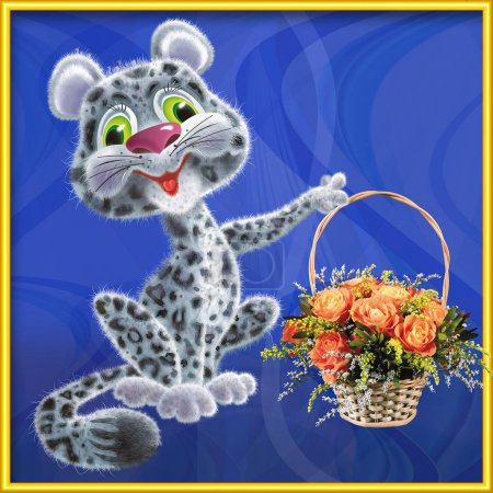 Cheerful leopard with a basket