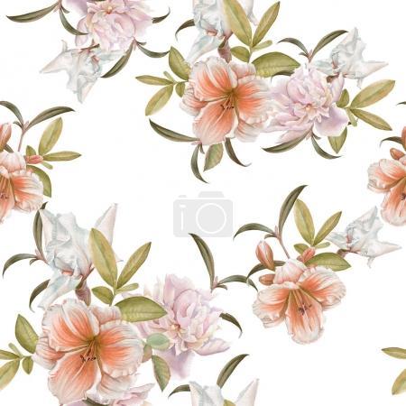 Foto de Patrón transparente floral con lirio, peonía, iris - Imagen libre de derechos