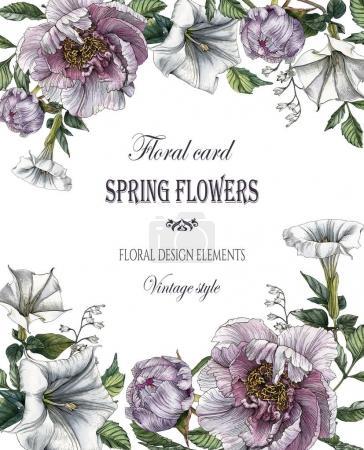 Photo pour Carte de vœux floral avec pivoines et datura - image libre de droit
