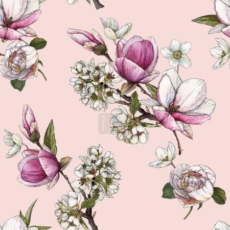 Photo pour Motif floral sans couture avec magnolia aquarelle, fleur de cerisier et pivoines . - image libre de droit