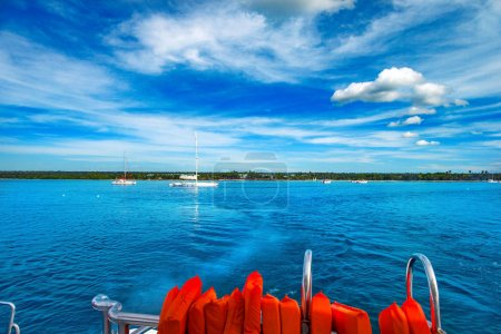 Photo for Caribbean landscape. Life jackets on the rear deck of the catamaran. - Royalty Free Image
