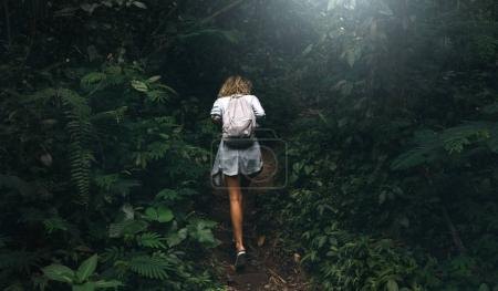 View from the back photo of a sporty curly female with a backpack walking througth the tropical forest with dark green forest on a summer day. Student girl is exploring wild nature of asia.