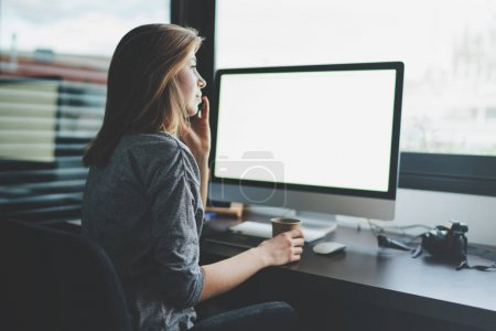 Photo for Beautiful young woman working with computer at workplace - Royalty Free Image