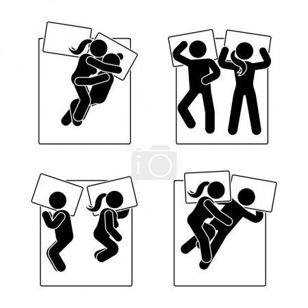 Illustration pour Stick figure position de sommeil différente réglée. Illustration vectorielle de différents couples rêveurs pose pictogramme symbole icône sur blanc - image libre de droit