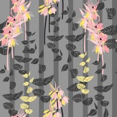 vector illustration design of Floral seamless pattern with hand drawn lilies and leaves