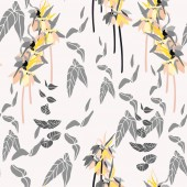 Floral seamless pattern with hand drawn flowers and leaves vector illustration