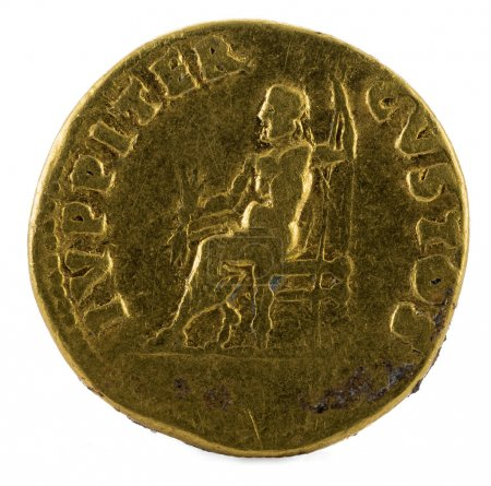 Photo pour Ancienne pièce d'or romaine dorée de l'empereur Néron. Marche arrière . - image libre de droit