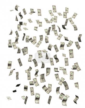 Photo pour Dollars tombant, isolés sur fond blanc - image libre de droit
