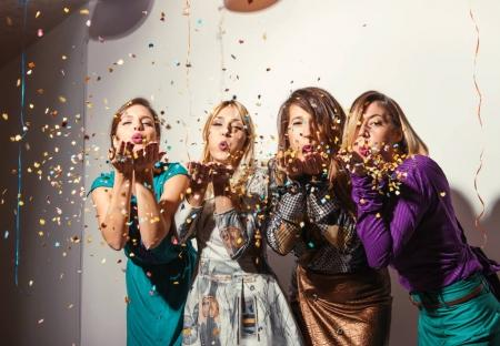 Group of beautiful girls having a party