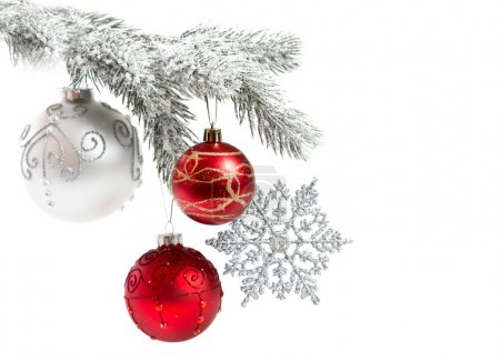 Christmas balls ornaments on white background
