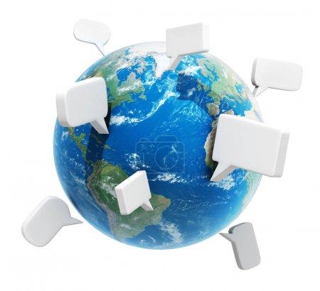 Planet with speech bubbles, communication concept