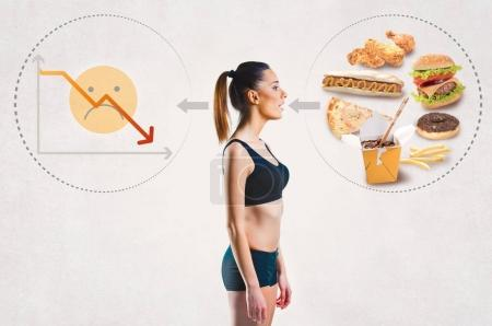 Young woman and an unhealthy diet concept
