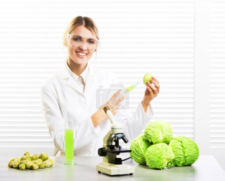 Woman scientist injecting cabbage with synthetic substances for growth; GM food
