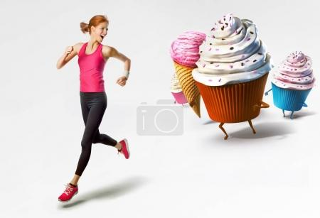 Woman running away from sweet food