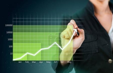 Hand drawing Green business graph showing growth close up