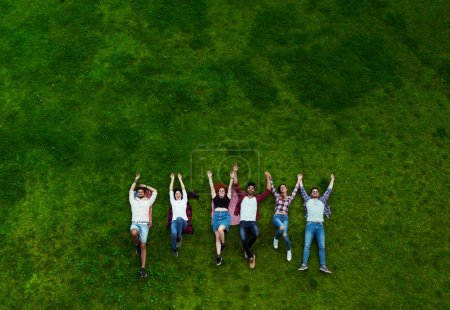 Group of young people laying on the grass, happy, smiling