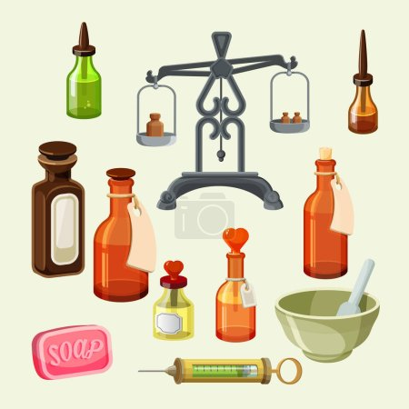 Pharmaceutical apothecary elements set. Realistic bottles for essential oils