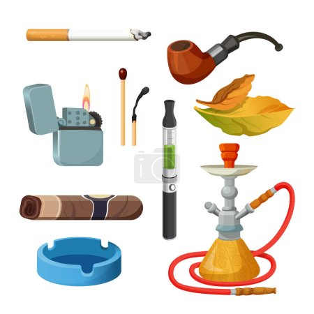 Illustration for Things for smoking realistic colourful collection on white. Tobacco and smoking sketch set. Vector poster of cigarettes, cigars, hookahs, tobacco leaves, ceremonial pipe, lighter and ashtray. - Royalty Free Image