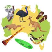 Australia symbols on map Koala kangaroo surfboard boomerang ostrich platypus