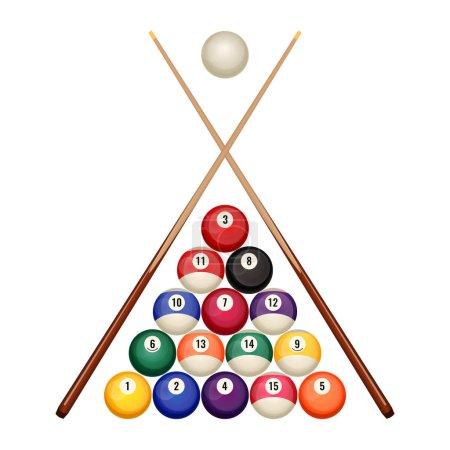 Pool billiard balls starting position