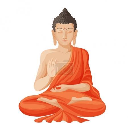 Illustration pour Bouddha Gautama avec les yeux fermés et la main droite levée, assis et méditant, vêtu de vêtements illustration vectorielle réaliste isolé sur blanc - image libre de droit