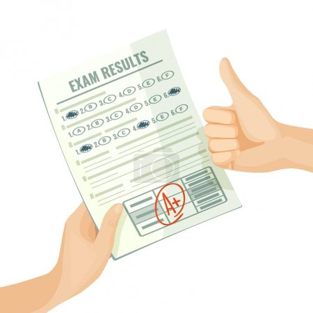 Illustration for Excellent exam results on paper in human hands. Best grade for knowledge estimation. Assessment at school or university isolated cartoon vector illustration. - Royalty Free Image
