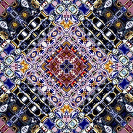 Unique mandala, Oriental round pattern, Mystical motif, Abstract exotic background. Fantastic fractal design, Colorful digital art, shining geometric texture.